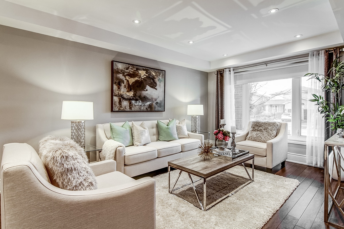 Beautifully staged living room in Vaughn, Ontario.
